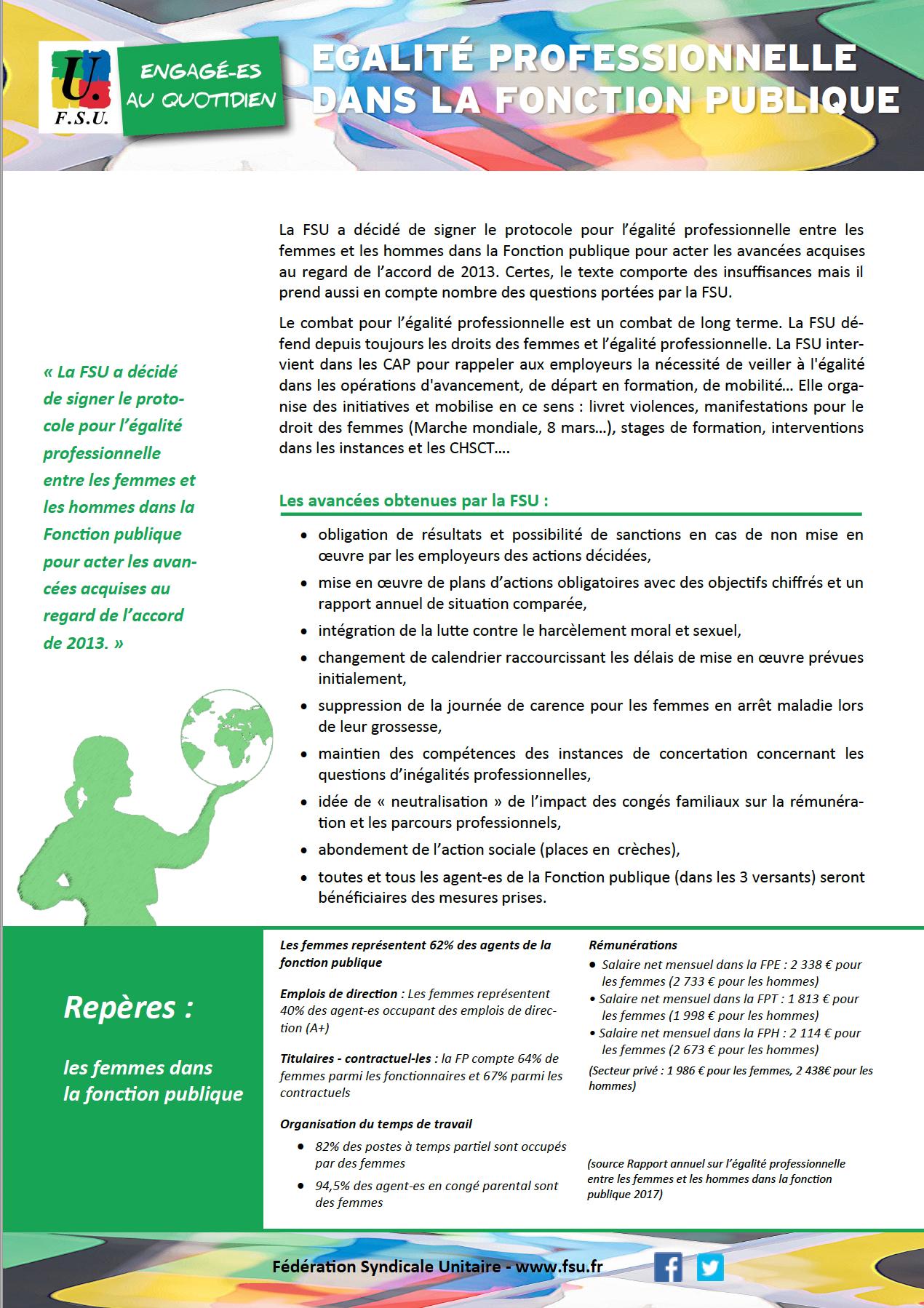 Egalite Professionnelle Dans La Fonction Publique Tract De La Fsu