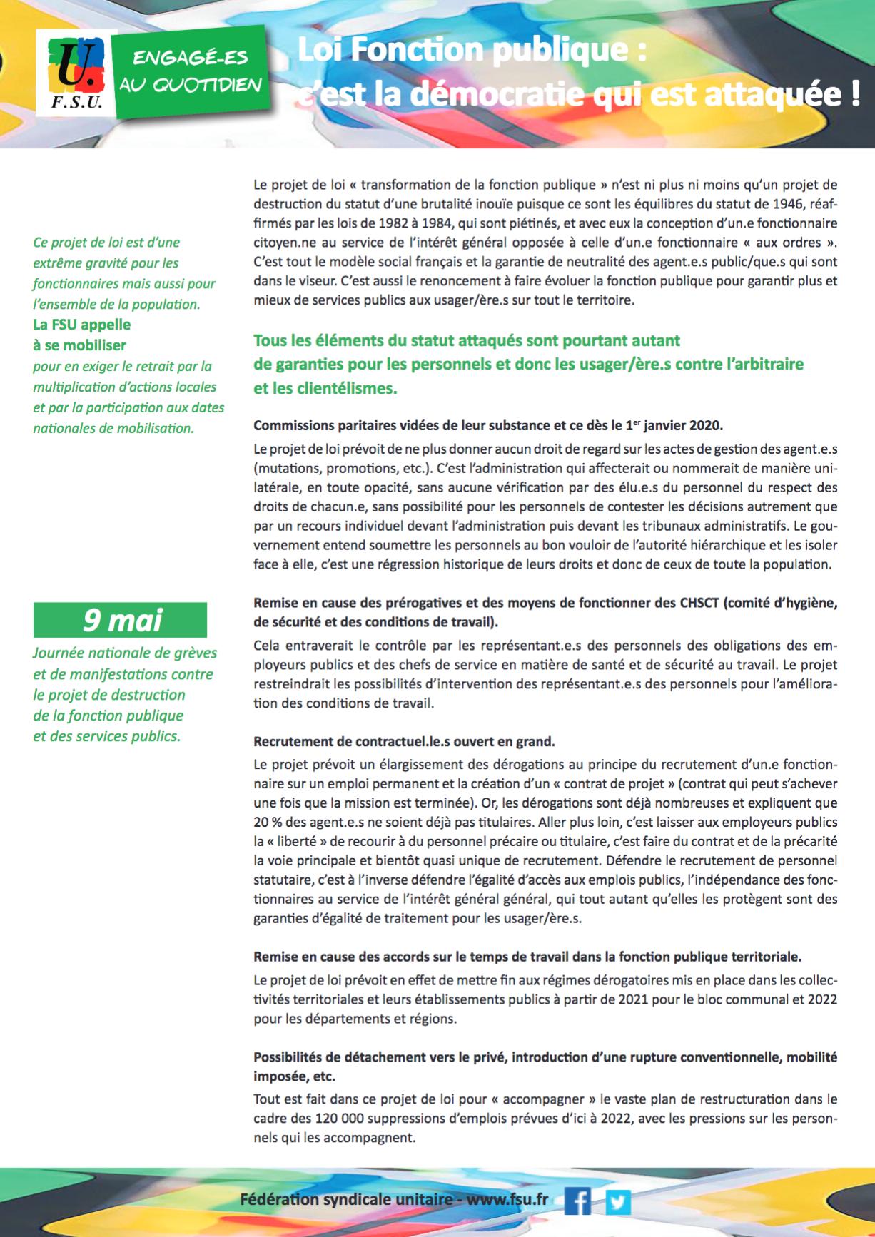 Tract Sur La Reforme De Destruction De La Fonction Publique Pour Le